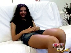 Ravishing brunette russian bombshell sonya gives fellatio and gets cunt penetrated by dudes