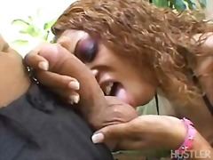 Scorching black marie luv whacks her throat with her lover's gigantic fuck-stick