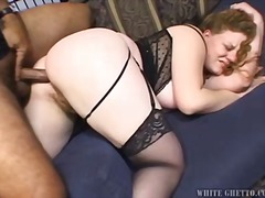 brunette, natural, bbw, big-tits, stockings, anal, interracial