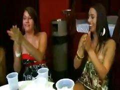 Boozed chicks go naughty over that superb draped stripper