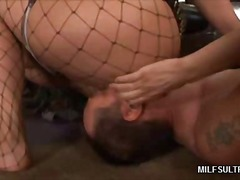 hardcore, fishnets, army, milf, face-fucking, uniform, femdom, big-boobs, couple