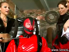 Femdom tarts try some lezdom with latex