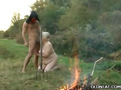 Older blonde swallows manmeat