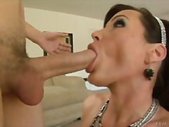 Buxom mummy sucking and using face as spunk target in pov movie