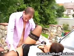 Clothed fetish glamour tramp deep throat and penetrate