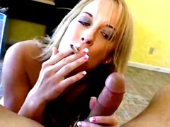 Tempting golden-haired tart wish moore smokes and gives head