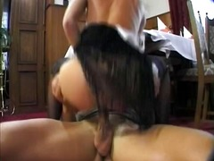 Big-chested blonde gets pounded on the floor and rails his shoving monster
