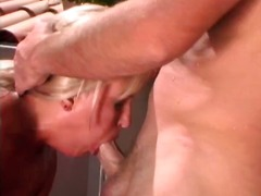 Chesty blonde slurps prick and gets smashed for facial outside