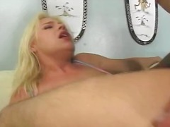 Blonde gets to work on sausages and gets all crevices banged with a double penetration