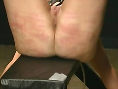 Rough bdsm flagellating electriciy in pusy and waxed