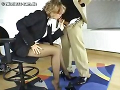 Wonderful nicole deepthroats her boss