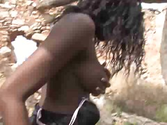 Ebony female getting penetrated outdoors
