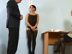 Harsh naked job interview for fantastic brunette honey
