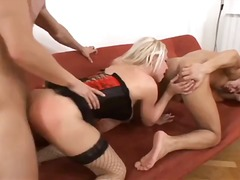 Blonde in handsome harness starlets in bisome