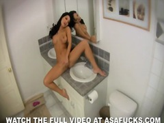 Jacking cutie asa akira inwards the bathroom