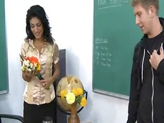 Ms. pele gives 1 of her students a unforgettable lesson in how to properly plow the teacher.