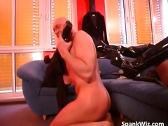 Nude bald fellow gobbles dominatrix leather part3