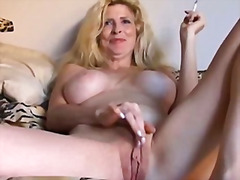 Fantastic blonde mummy loves a smoke crack