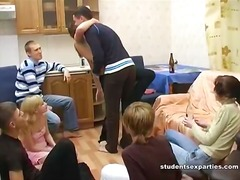 Dissolute students, beer, striptease and hardfuck