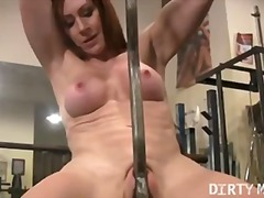 masturbation, rubbing, gym, pussy, kinky, workout, penetration, tits