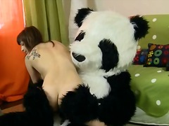 Gorgeous lady screws with funny panda