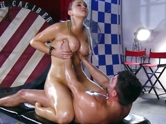 Abbey brooks gets lubricated up & massaged down by her masseuse