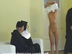 Sassy blond takes sexual penalty in the monastery