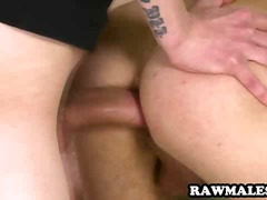 Steaming uncircumcised hunk getting his donk poked rock hard without a condom