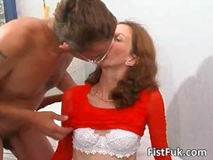 Stud pounds brunettes furry snatch and knuckles that slit
