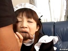 Pretty japanese maid cleans up her tormentor's implement