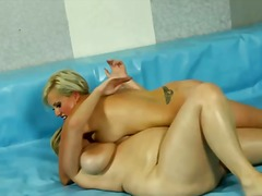 Downright bare and lubed up fatties wresting
