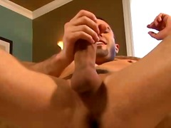 Pornstar fellow jerking his main muscle and likes it - more gay tube porn