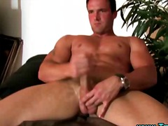 Insane gay muscley hunk jacks off