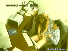 Fortunate stud gets a hand job in the office