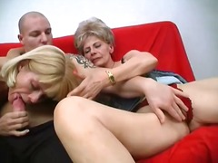 Two mad mature women share 1 intense stiffy