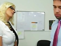 Buxom blonde secretary takes yam-sized pecker from boss to keep her job