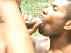 Bodybuilder gay hunks tearing up in the forest