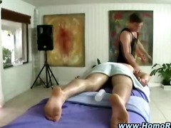 Kinky gay masseur takes off straighty