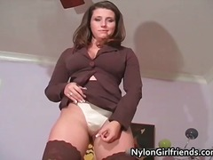 Outstanding brunette damsel with large juggs part3