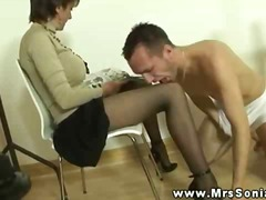 Mrs sonia gets spunk from this boy and cant get enough