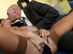hardcore, stockings, brunette, doggystyle, squirt, bed, orgasm