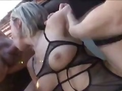 Blonde stunner takes bi cocks