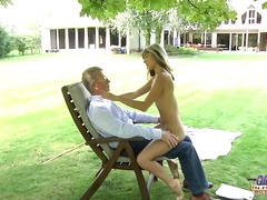 Youthful wild blonde seduce an oldguy