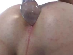 Ladyboy brunette penis and bootie play