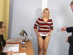Blonde secretary's naked job interview
