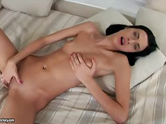Thin brunette tart alaine takes off her handsome clothes and jacks