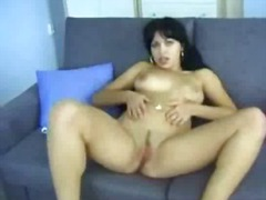 erotic, rubbing, couch, tits, pussy, brunette, homemade