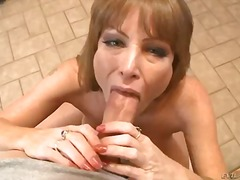 Darla crane is fondling lubricant on her enormous orbs before she gives man the greatest hooter drill of hi...