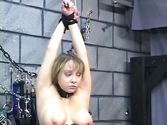 Chubby bdsm tart gets nips clamped then strapped on table for oral pleasure
