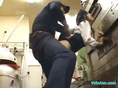 Asian woman in uniform getting her snatch nailed facial in the restaurants kitchen